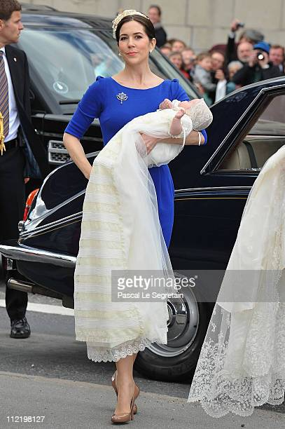 Crown Princess Mary arrives with Princess Josephine before the christening of her twins Prince Vincent and Princess Josephine at Holmens Kirke on...