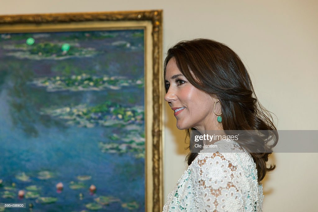 Danish Crown Princess Mary Visits Opening Of Monet Exhibition North Of Copenhagen. : News Photo