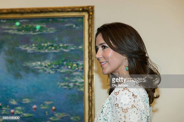 Crown Princess Mary attends preview of French painter Monet exhibition at Ordrupgaard Museum in Charlottenlund in Denmark on August 23 2016 The title...