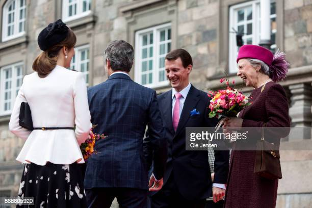 Crown Princess Mary Crown Prince Frederik Prince Joachim and Princess Benedikte seen at their arrival to the Parliament to celebrate the...