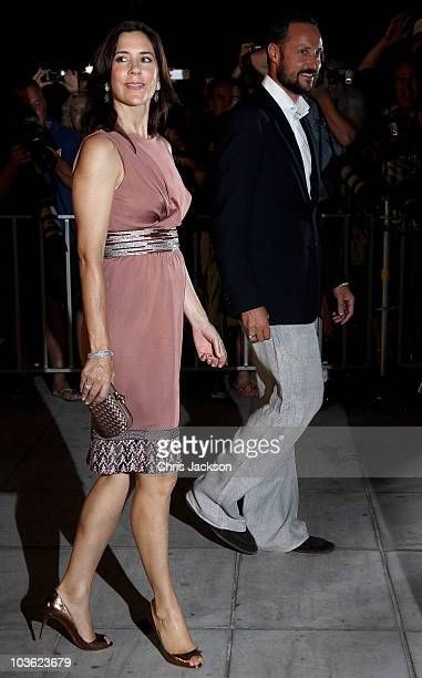 Crown Princess Mary Denmark and Haakon Crown Prince of Norway attend a prewedding reception at the Poseidon Hotel on August 24 2010 in Spetses...