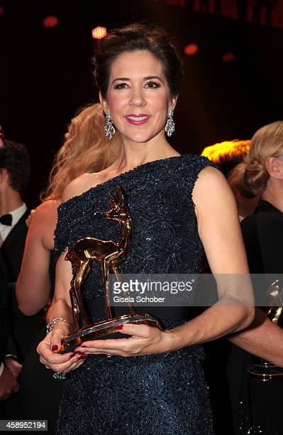 Crown Princess Mary Elisabeth of Denmark poses with her award during the Bambi Awards 2014 show on November 13 2014 in Berlin Germany