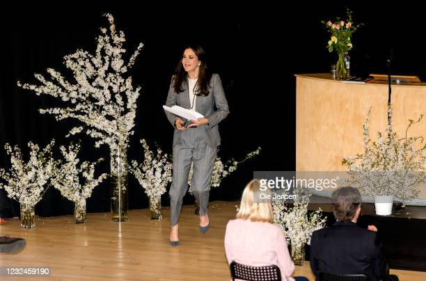 Crown Princess Mary Of Denmark after her speech at the UNFPA State Of World Population Report Release at Gerlev Sports High School on April 22, 2021...