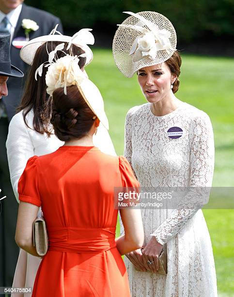 Crown Princess Mary of Denmark and Catherine Duchess of Cambridge attend day 2 of Royal Ascot at Ascot Racecourse on June 15 2016 in Ascot England