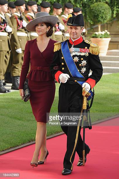 Crown Princess Mary of Denmark and Crown Crown Prince Frederik of Denmark of Denmark emerge from the Cathedral following the wedding ceremony of...