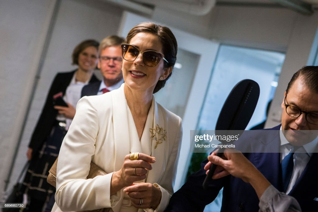 Crown Princess Mary of Denmark and Crown Prince Daniel of Sweden are seen visiting the Designlounge on May 29, 2017 in Stockholm, Sweden.