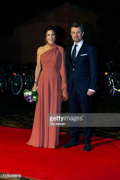 Crown Princess Mary of Denmark and Crown Prince Frederik arrive to the Crown Prince Culture Ward Show on November 2, 2019 in Odense, Denmark. The...