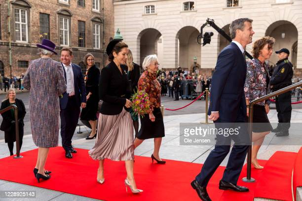 Crown Princess Mary of Denmark and Crown Prince Frederik at the stairs to Parliament at Christiansborg Palace on October 6, 2020 in Copenhagen,...