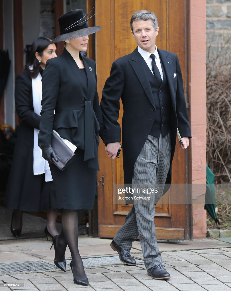 Crown Princess Mary of Denmark and Crown Prince Frederik leave the funeral service for the deceased Prince Richard of Sayn-Wittgenstein-Berleburg (1934 - 2017) at the Evangelische Stadtkirche on March 21, 2017 in Bad Berleburg, Germany. Prince Richard, husband of Princess Benedikte of Denmark, died suddenly on March 13, 2017 at age 83.