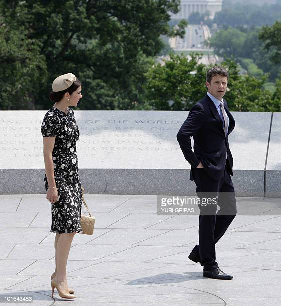 Crown Princess Mary of Denmark and Crown Prince Frederik of Denmark are given a tour at Arlington National Cemetery in Arlington Virginia on June 5...