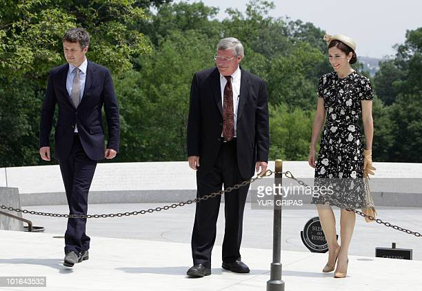 Crown Princess Mary of Denmark and Crown Prince Frederik of Denmark are given a tour by Cemetery historian Thomas Sherlock at Arlington National...