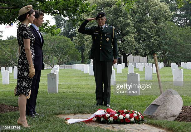 Crown Princess Mary of Denmark and Crown Prince Frederik of Denmark pay their respects for American soldiers fallen in Denmark during WWII at...
