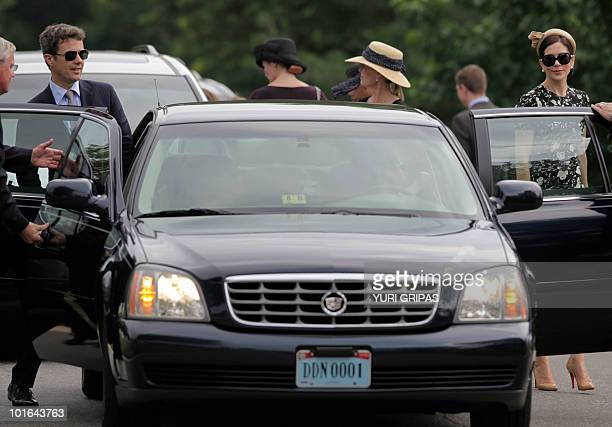 Crown Princess Mary of Denmark and Crown Prince Frederik of Denmark leave after a tour at Arlington National Cemetery in Arlington Virginia on June 5...