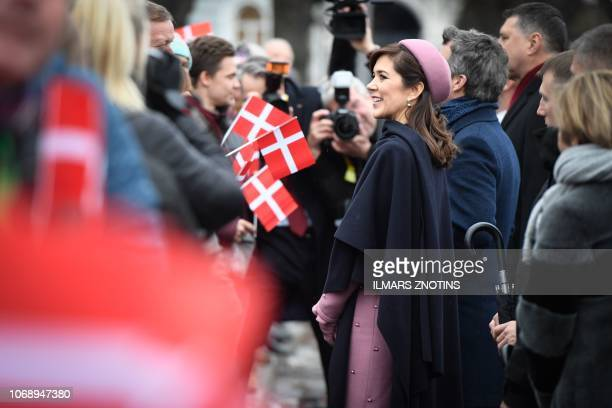 Crown princess Mary of Denmark and Crown prince Frederik of Denmark meet with people after a wreath laying ceremony at the Monument of Freedom in...