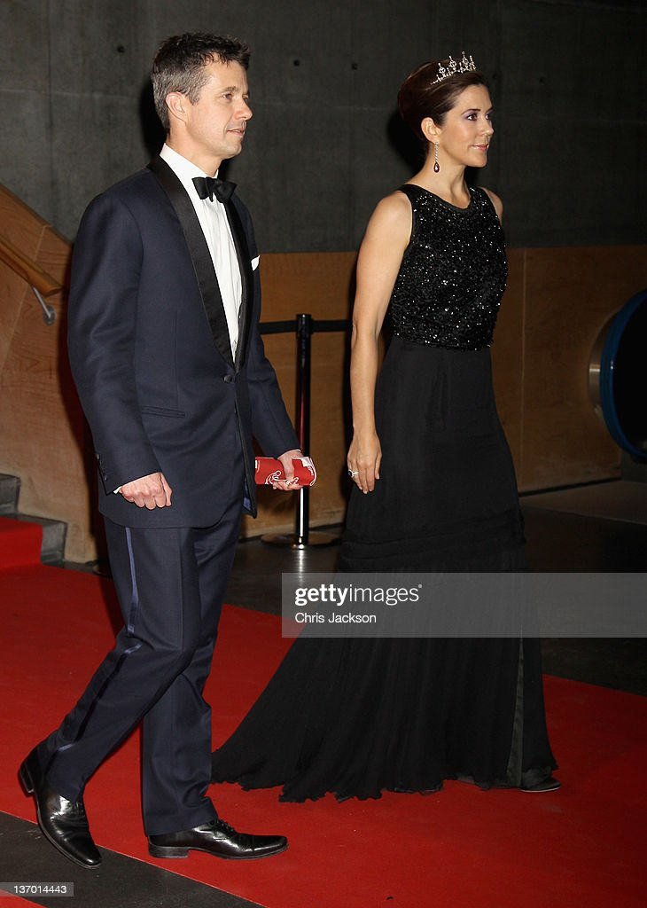 Crown Princess Mary of Denmark (R) and Crown Prince Frederik of Denmark leave a Gala Performance at the DR Concert Hall to celebrate 40 years on the throne at City Hall on January 14, 2012 in Copenhagen, Denmark.