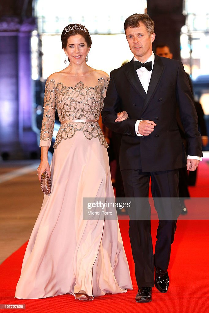 Crown Princess Mary of Denmark and Crown Prince Frederik of Denmark attend a dinner hosted by Queen Beatrix of The Netherlands ahead of her abdication in favour of Crown Prince Willem Alexander at Rijksmuseum on April 29, 2013 in Amsterdam, Netherlands.