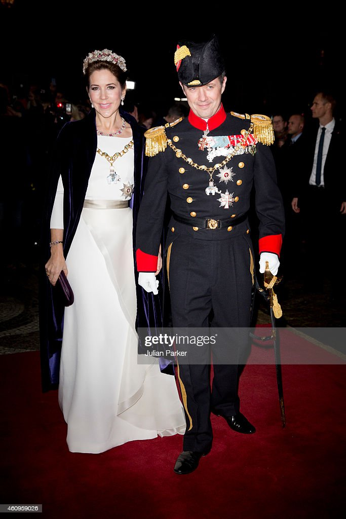 Crown Princess Mary of Denmark and Crown Prince Frederik of Denmark attend a New Years Levee and Banquet at Christian VII's Palace on January 1, 2015 in Copenhagen, Denmark.