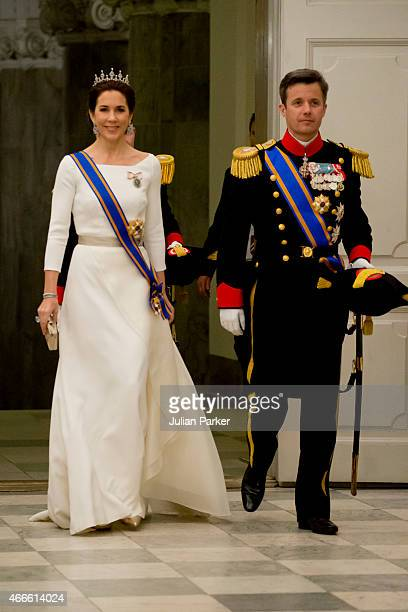 Crown Princess Mary of Denmark and Crown Prince Frederik of Denmark attend a State Banquet at Christiansborg Palace during the state visit of the...