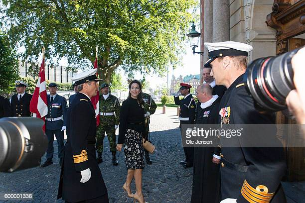 Crown Princess Mary of Denmark and Crown Prince Frederik of Denmark arrives to the Flag Day ceremony for international deployed military personnel...