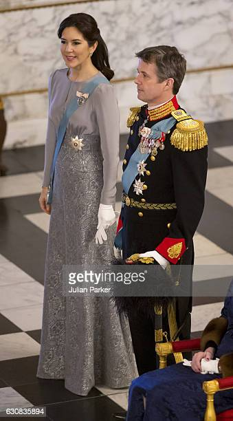 Crown Princess Mary of Denmark and Crown Prince Frederik of Denmark attend a New Year's Levee held by Queen Margrethe of Denmark for Diplomats at...