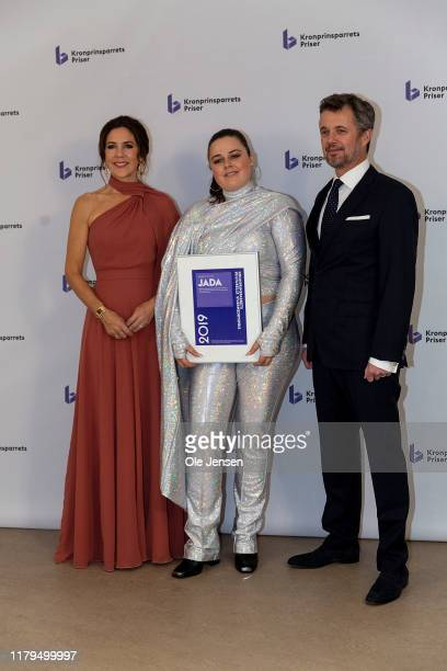 Crown Princess Mary of Denmark and Crown Prince Frederik pose together with pop singer Jada on November 2, 2019 in Odense, Denmark. Jada won the...