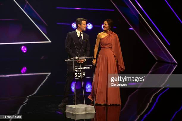 Crown Princess Mary of Denmark and Crown Prince Frederik seen on stage during the Crown Prince Couples Award Prize Show on November 2, 2019 in...