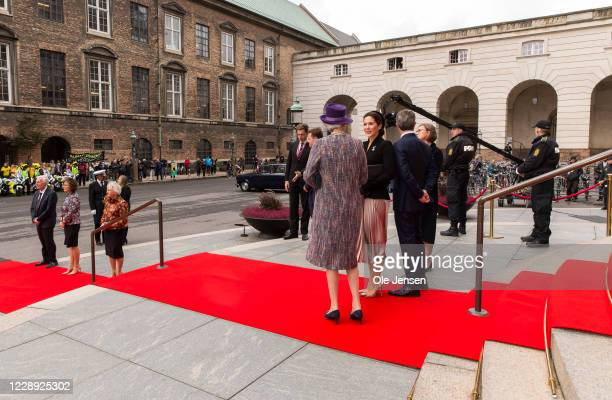 Crown Princess Mary of Denmark and Crown Prince Frederik together with Princess Benedikte at the stairs to Parliament where they are welcomed by...