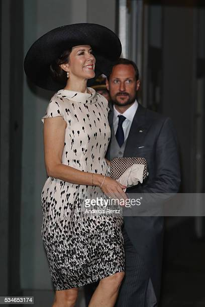 Crown Princess Mary of Denmark and Crown Prince Haakon of Norway are seen after the christening of Prince Oscar of Sweden at Royal Palace of...