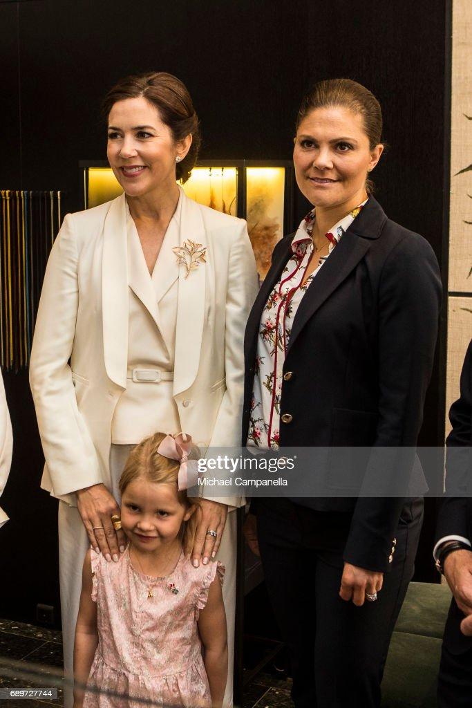 Crown Princess Mary of Denmark and Crown Princess Victoria of Sweden with Ella Lyndggaard at Ole Lyndggaard Copenhagen store on May 29, 2017 in Stockholm, Sweden.