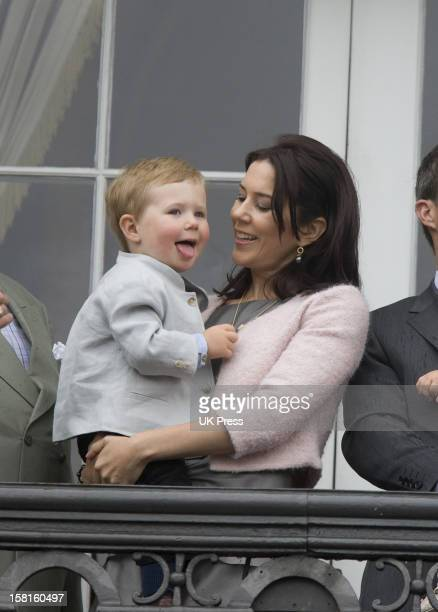 Crown Princess Mary Of Denmark And Her Son Prince Christian On The Balcony Of Amalienborg Palace In Copenhagen To Celebrate Crown Prince Frederik'S...