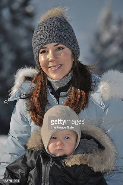 Crown Princess Mary Of Denmark and HRH Prince Vincent Of Denmark meet the press whilst on skiing holiday in Verbier on February 12 2012 in Verbier...