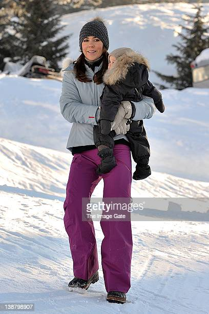 Crown Princess Mary of Denmark and HRH Prince Vincent of Denmark meet the press whilst on a skiing holiday in Verbier on February 12 2012 in Verbier...
