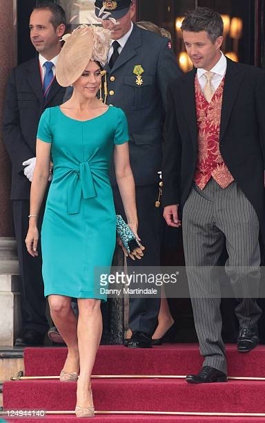Crown Princess Mary of Denmark and husband Crown Prince Frederik of Denmark are seen leaving the Hotol de Paris to attend the religious ceremony of...