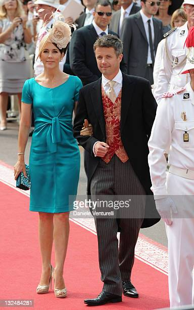 Crown Princess Mary of Denmark and husband Crown Prince Frederik of Denmark attend the religious ceremony of the Royal Wedding of Prince Albert II of...