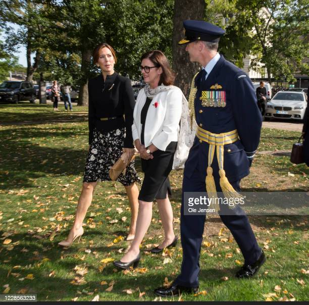 Crown Princess Mary of Denmark and Mary Ellen Miller, Australian Embassador to Denmark seen during arrival to the official inauguration of the...