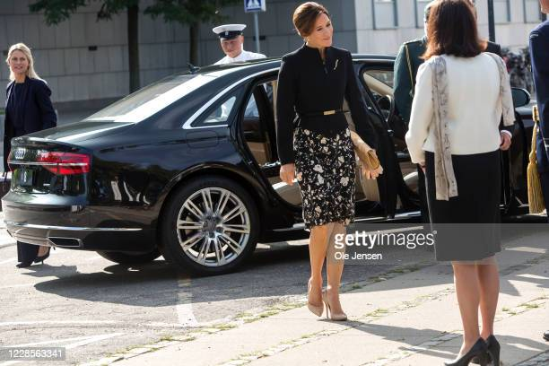 Crown Princess Mary of Denmark and Mary Ellen Miller Australian Embassador to Denmark seen during arrival to the official inauguration of the...