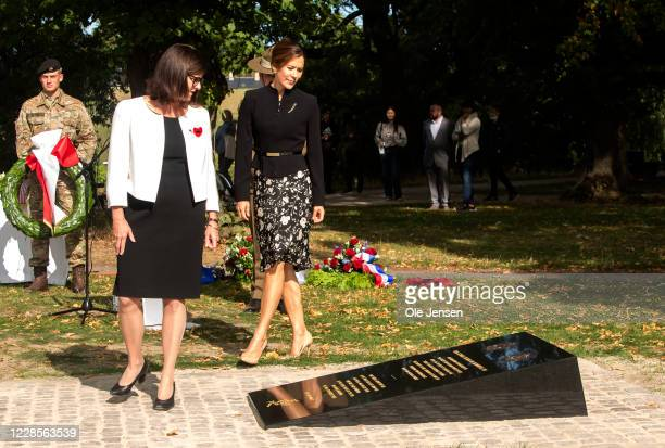 Crown Princess Mary of Denmark and Mary Ellen Miller Australian Ambassador to Denmark during their joint wreath laying at the official inauguration...