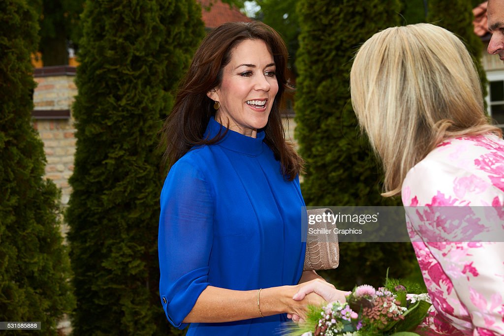 Crown Princess Mary of Denmark and Natasha Stott Despoja arrive at a reception for Australian delegates attending the Women Deliver Conference at the Australian Ambassador's Residence on May 15, 2016 in Copenhagen, Denmark.