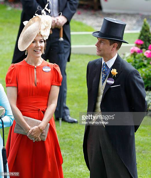 Crown Princess Mary of Denmark and Prince Edward Earl of Wessex attend day 2 of Royal Ascot at Ascot Racecourse on June 15 2016 in Ascot England