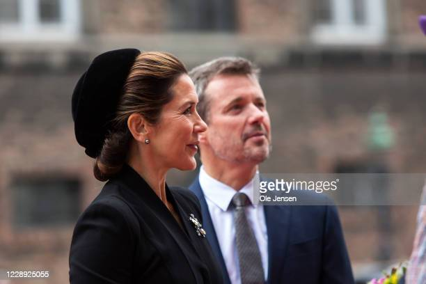 Crown Princess Mary of Denmark and Prince Frederik arrive at Christiansborg Palace on October 6, 2020 in Copenhagen, Denmark. Parliament opens for...