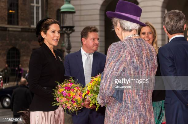 Crown Princess Mary of Denmark and Prince Frederik talk to Princess Benedikte during arrival at Christiansborg Palace on October 6, 2020 in...