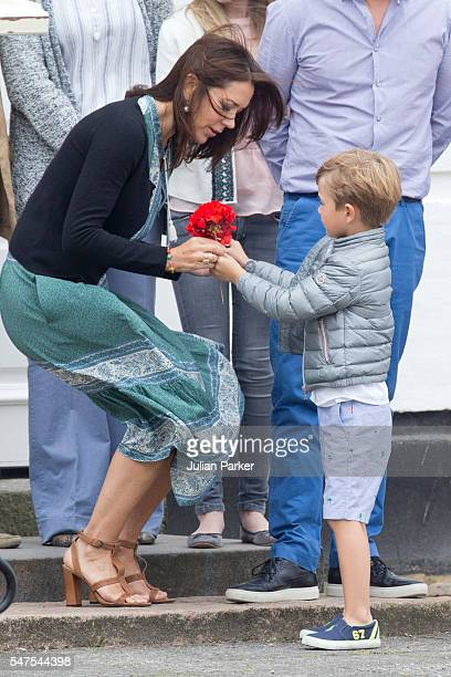 Crown Princess Mary of Denmark and Prince Vincent of Denmark attend the annual summer photo call for The Danish Royal Family at Grasten Castle on...