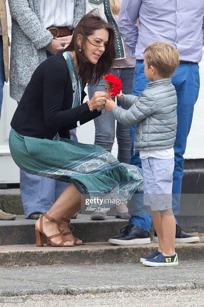 Crown Princess Mary of Denmark, and Prince Vincent of Denmark, attend the annual summer photo call for The Danish Royal Family at Grasten Castle, on July 15, 2016 in Grasten, Denmark.
