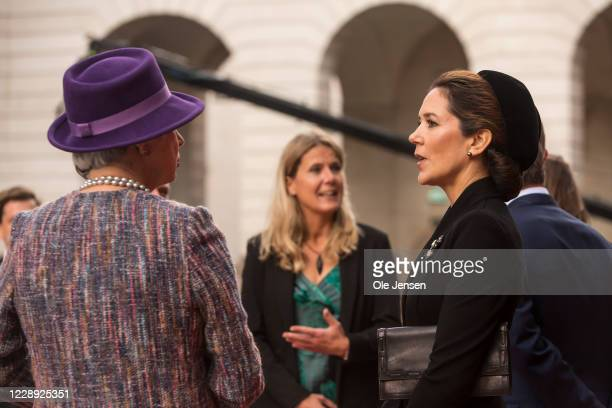 Crown Princess Mary of Denmark and Princess Benedikte arrive at Christiansborg Palace on October 6, 2020 in Copenhagen, Denmark. Parliament opens for...