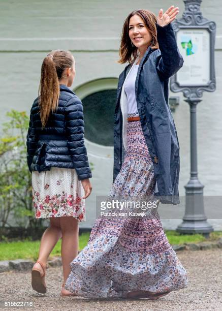 Crown Princess Mary of Denmark and Princess Isabella of Denmark attend the Ringsted horse ceremony at Grasten Slot during their summer vacation on...