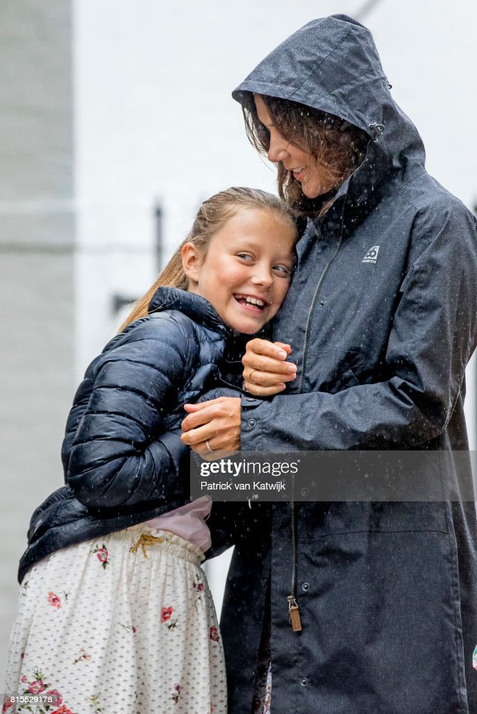 Crown Princess Mary of Denmark and Princess Isabella of Denmark attend the Ringsted horse ceremony at Grasten Slot during their summer vacation on July 16, 2017 in Grasten, Denmark.