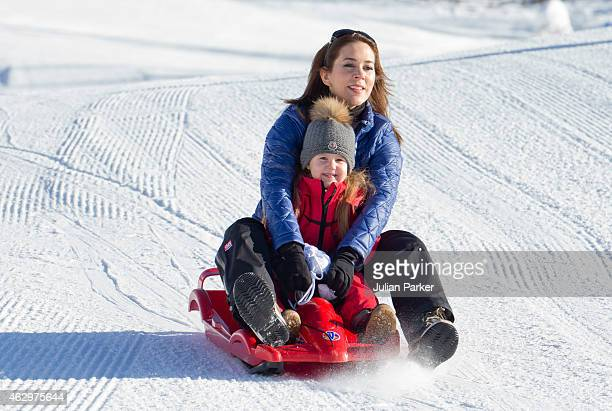 Crown Princess Mary of Denmark and Princess Josephine of Denmark attend a Photocall during their annual Ski holiday, on February 8, 2015 in Verbier,...