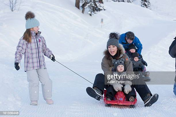 Crown Princess Mary of Denmark and Princess Josephine of Denmark and Princess Isabella of Denmark pose for photographs on their annual skiing holiday...