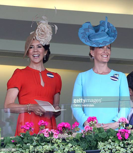 Crown Princess Mary of Denmark and Sophie Countess of Wessex attends day 2 of Royal Ascot at Ascot Racecourse on June 15 2016 in Ascot England