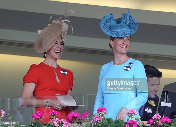 Crown Princess Mary of Denmark and Sophie, Countess of Wessex watch the racing during day 2 of Royal Ascot at Ascot Racecourse on June 15, 2016 in...